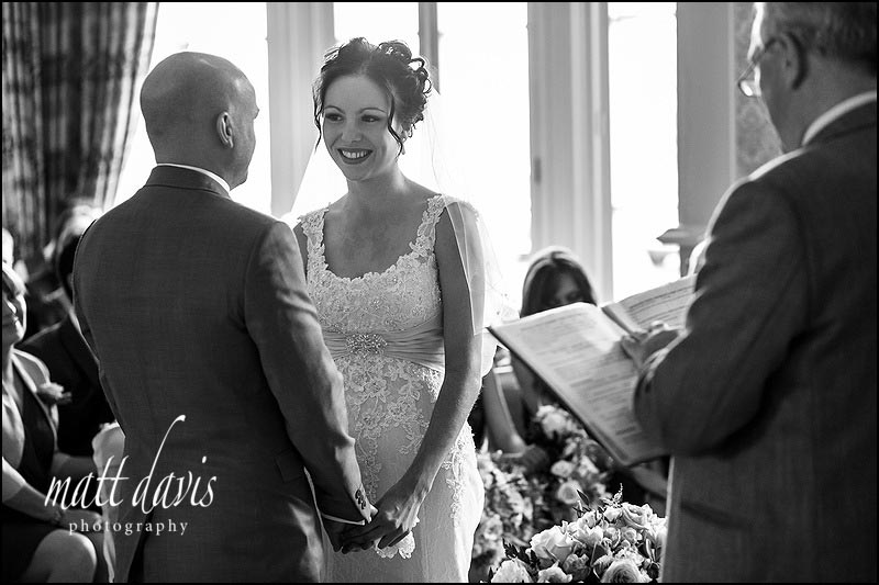 Black and white photos of a Wedding ceremony at Limpley Stoke Hotel