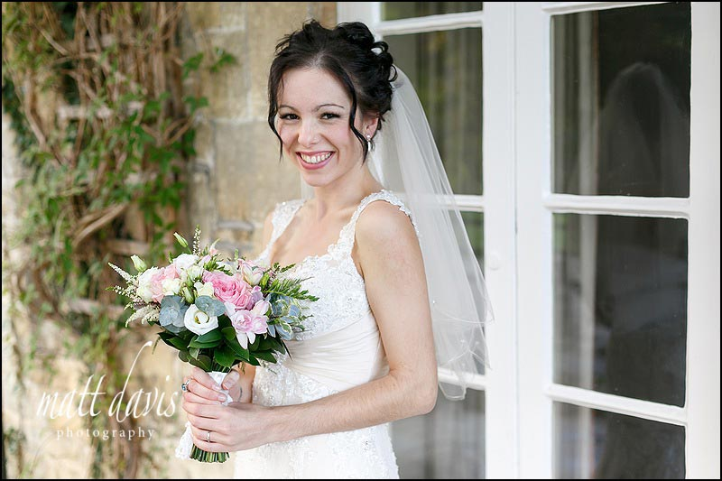 Relaxed natural portrait of bride on her wedding day at Limpley Stoke Hotel by Matt Davis Photography