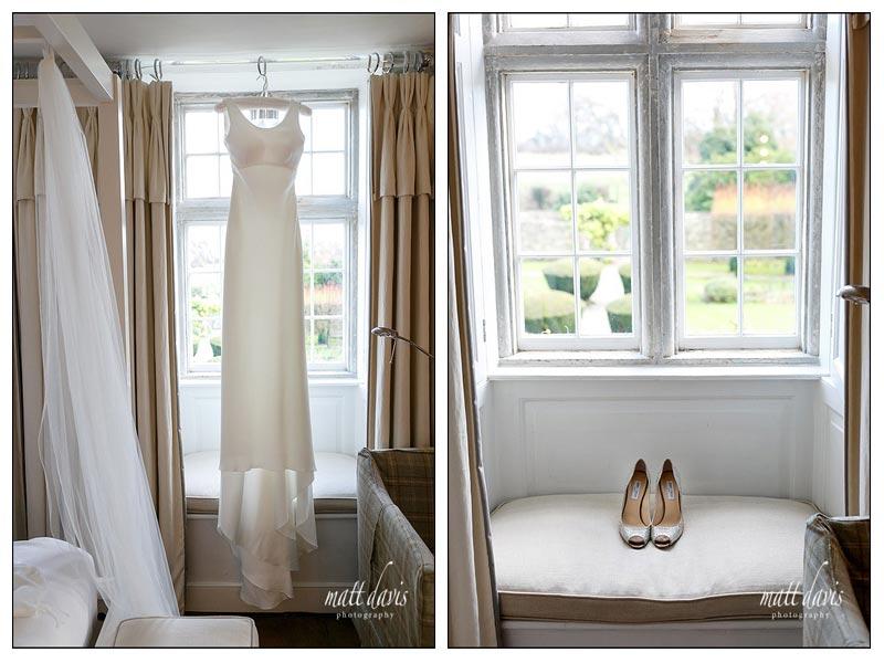Jimmy choo wedding shoes and wedding dress hung in window
