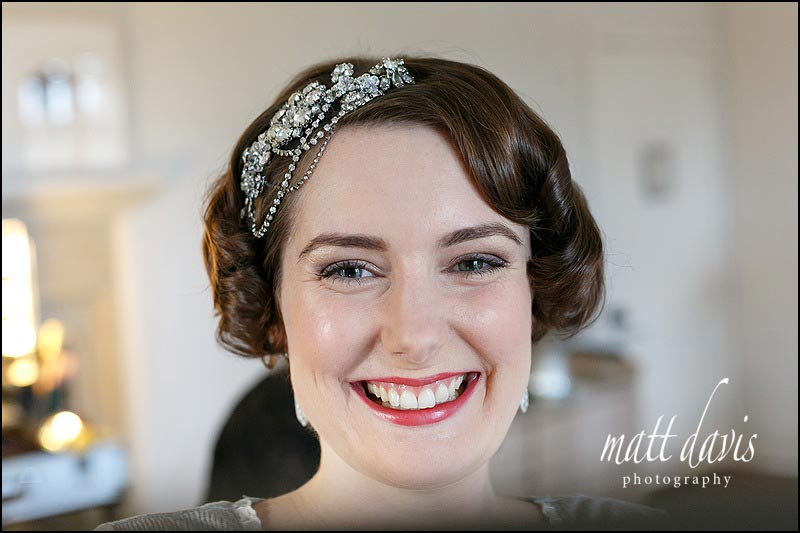 Wedding hair piece with 20's styling and bride with short hair
