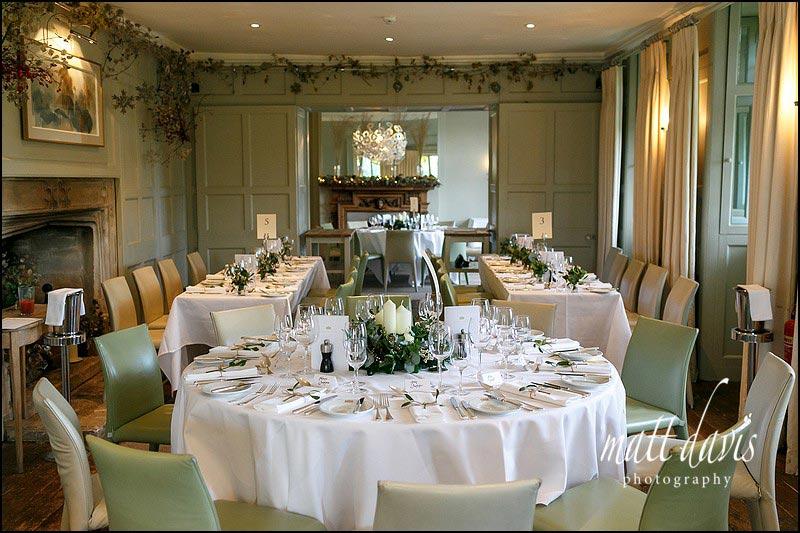 Inside Barnsley House set for the wedding breakfast