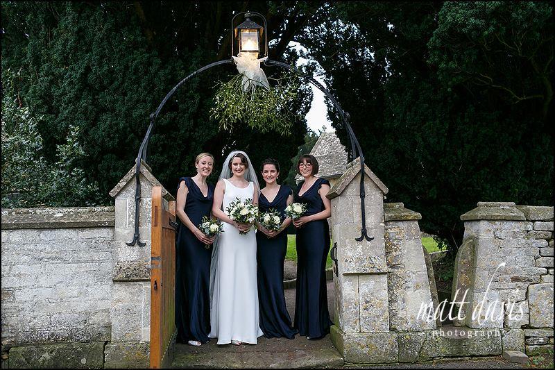 Long blue bridesmaid dresses for winter wedding