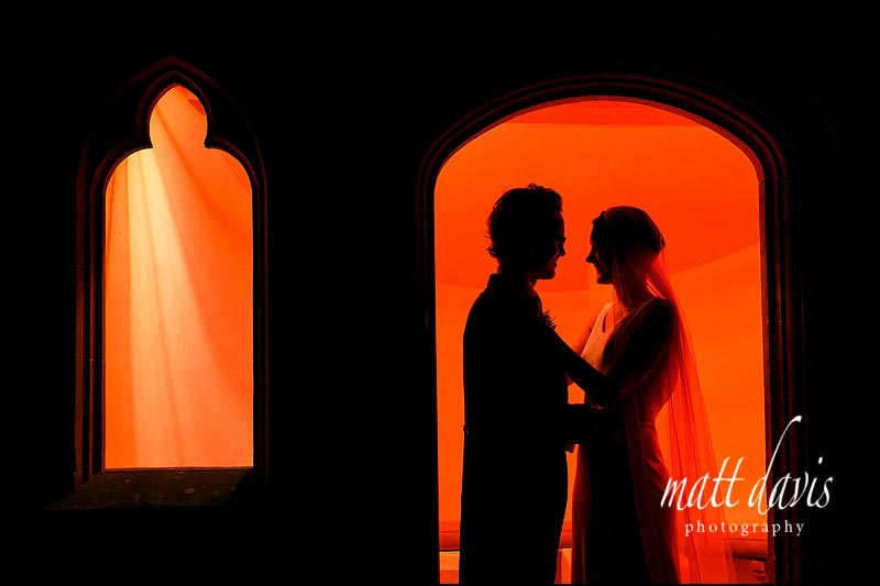 Outdoor photo of Anton & Katherine from their winter wedding at Barnsley House