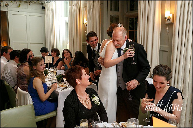 Emotional moments during wedding speeches at Barnsley House wedding