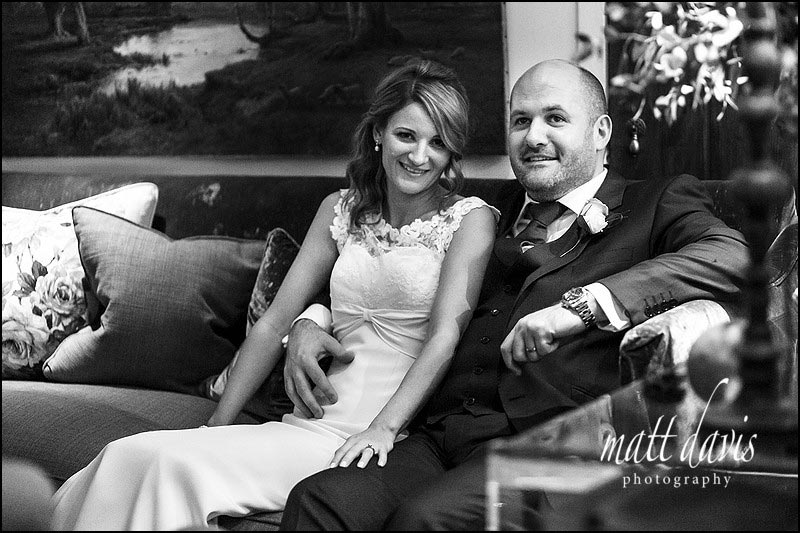 Relaxed couple portraits taken indoors at Barnsley House, Gloucestershire