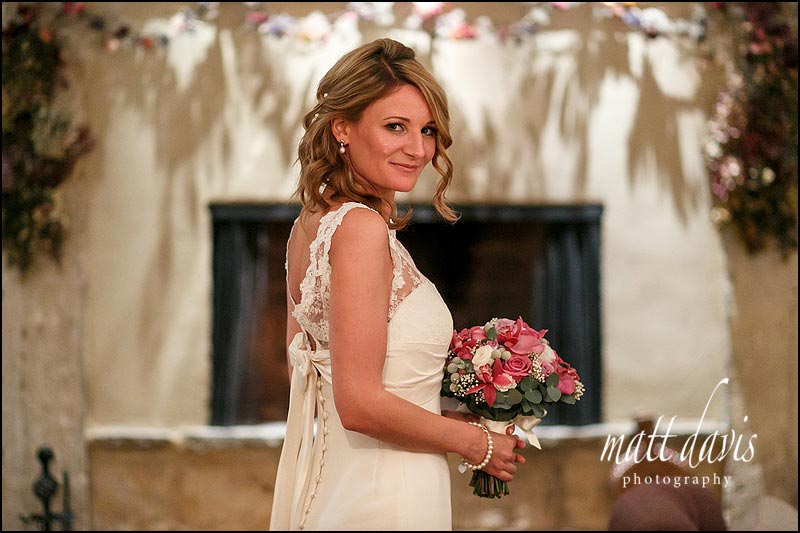 Indoor portrait of the bride during a small wedding at Barnsley House