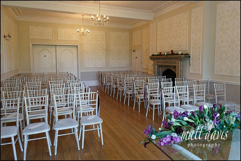 Civil ceremony wedding room laid out at Eastington Park, Gloucestershire