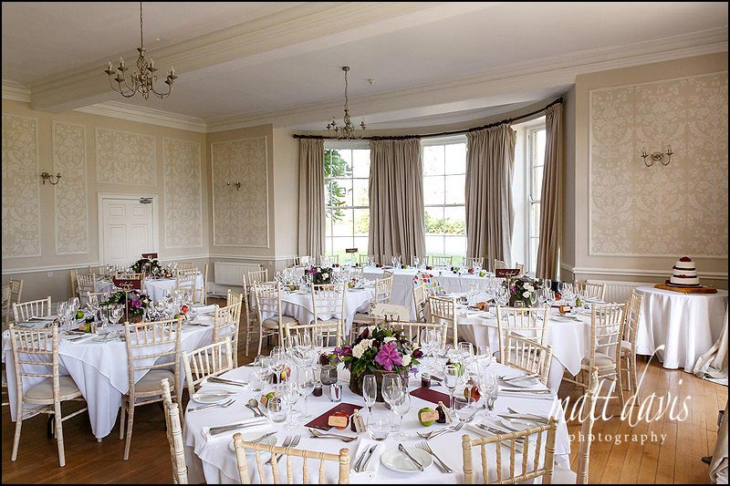 Wedding table layouts at Eastington Park, Gloucestershire