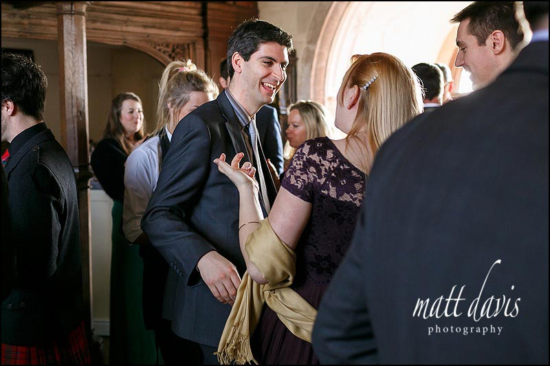 Documentary wedding photography of wedding guests at Berkeley Castle