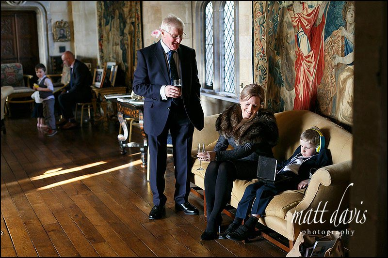 reportage wedding photography of wedding guests at Berkeley Castle
