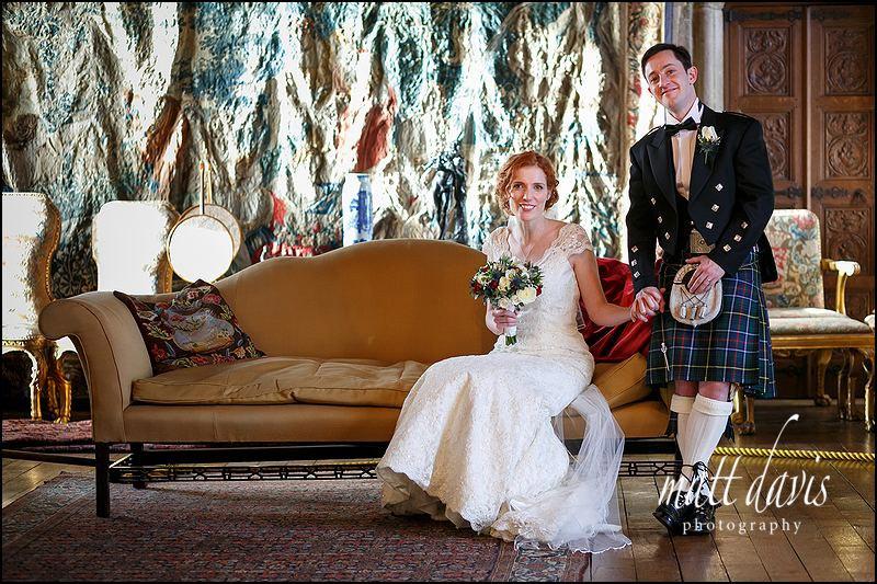 Indoor wedding couple photos at Berkeley Castle