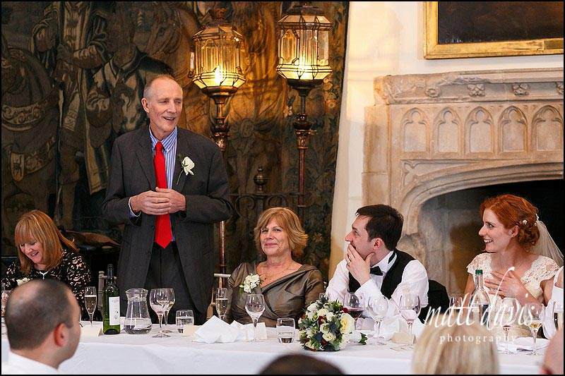 wedding speeches at Berkeley Castle, Gloucestershire