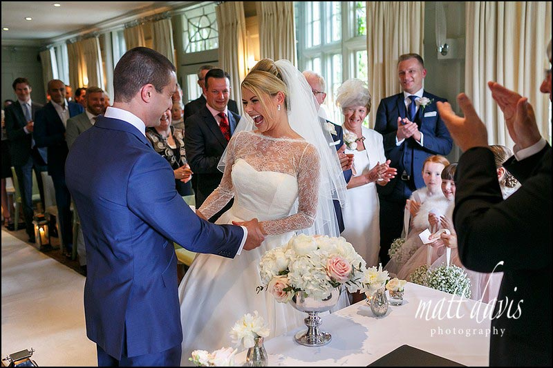 Emotional moments during a wedding at Barnsley House, Gloucestershire