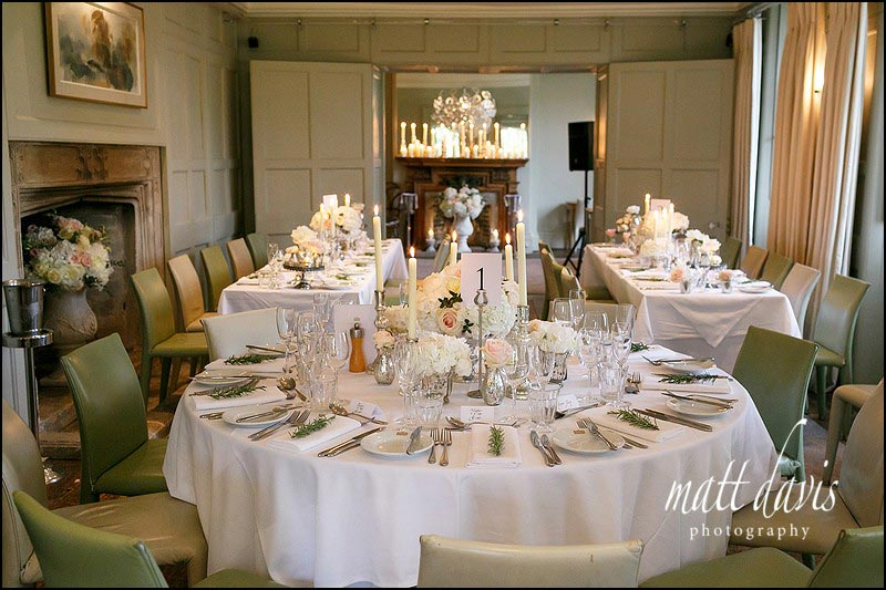 The wedding breakfast set at Barnsley House