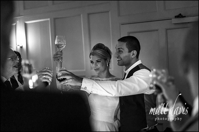 Black and white wedding photos taken at Banrnsley House in Gloucestershire