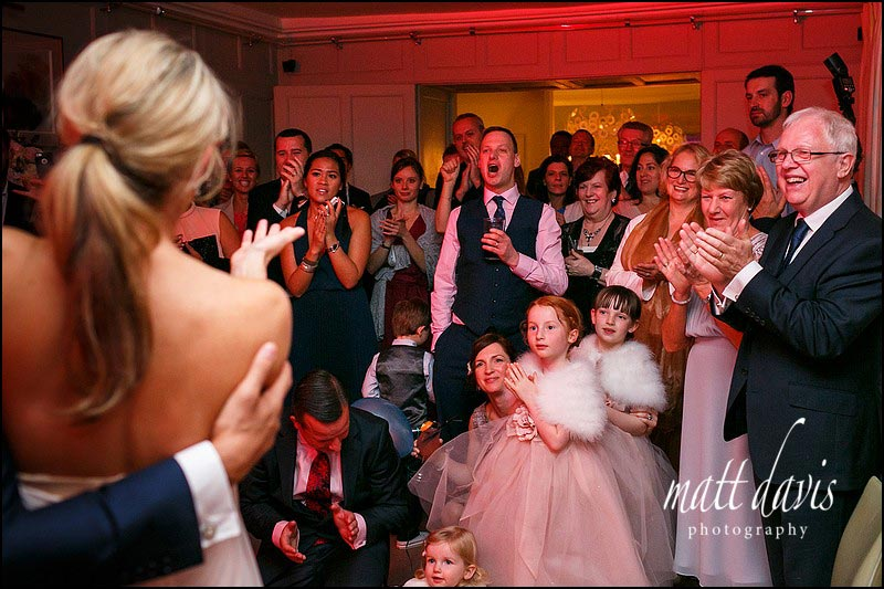 Documentary wedding photos of first dance at Barnsley House, Gloucestershire