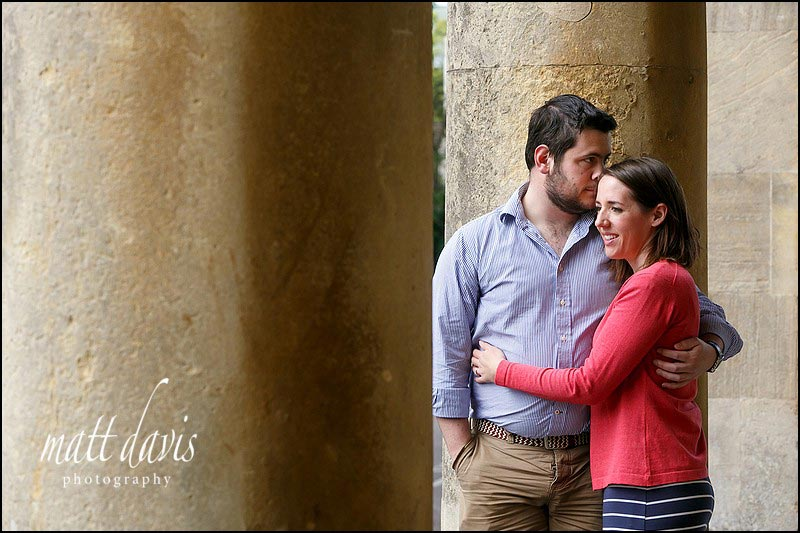 relaxed couple portraits at Pittville Pump Room, Cheltenham