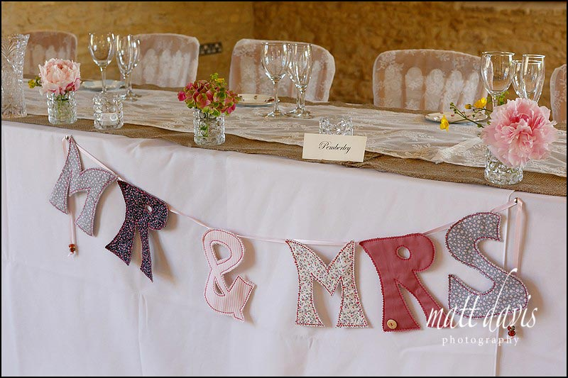 Mr & Mrs wedding sign used on the top table at Kingscote Barn