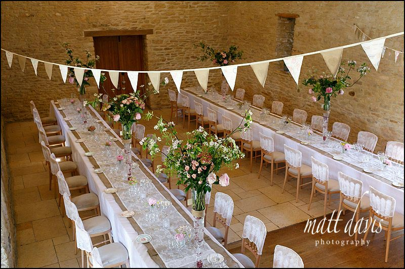 Bunting used at Kingscote Barn to decorate the wedding reception