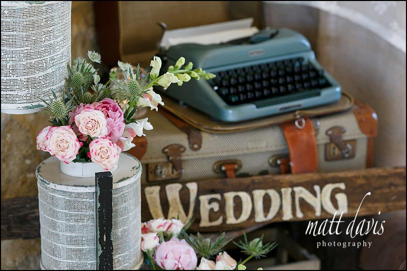 Vintage wedding details at Kingscote Barn