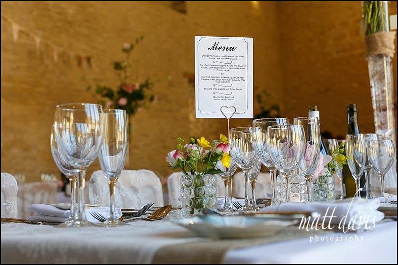 A simple wedding menu for food at Kingscote Barn
