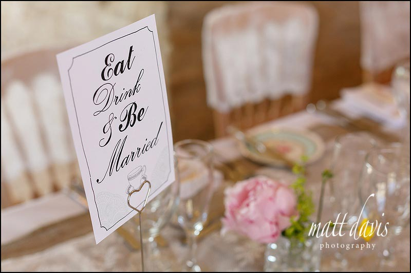 Eat drink and be married sign for wedding table decorations