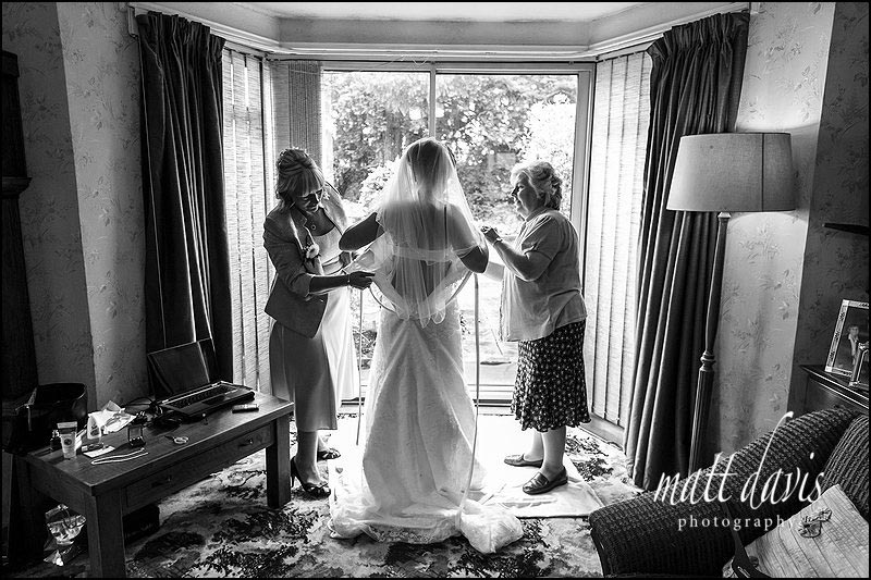 Bridal preparations at home in Cheltenham, Gloucestershire