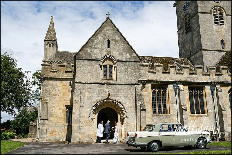 bride arriving at St Michael's & All Angels Church, Bishop's Cleeve, Cheltenham