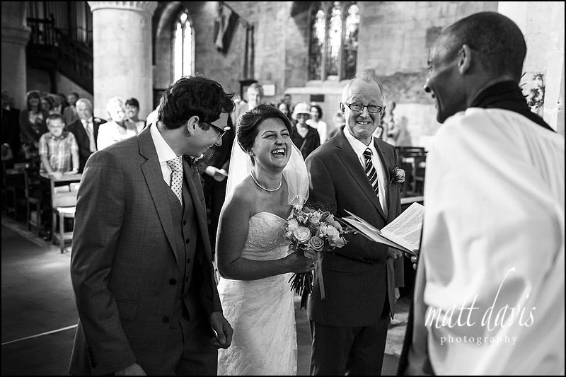 Wedding couple getting married at St Michael's & All Angels Church, Bishop's Cleeve, Cheltenham