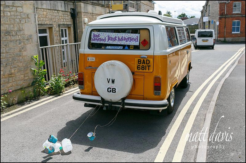 VW camer van as wedding car