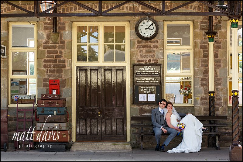 Stylish Wedding Photography Cheltenham taken at Winchcombe train station