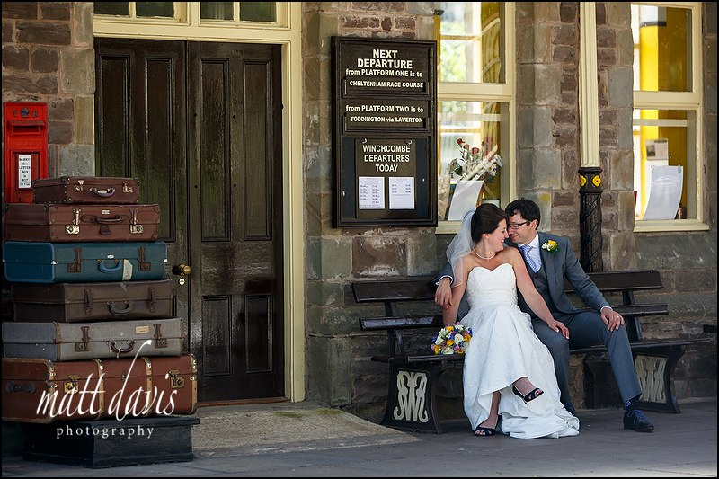 Creative Wedding Photography Cheltenham taken at Winchcombe train station