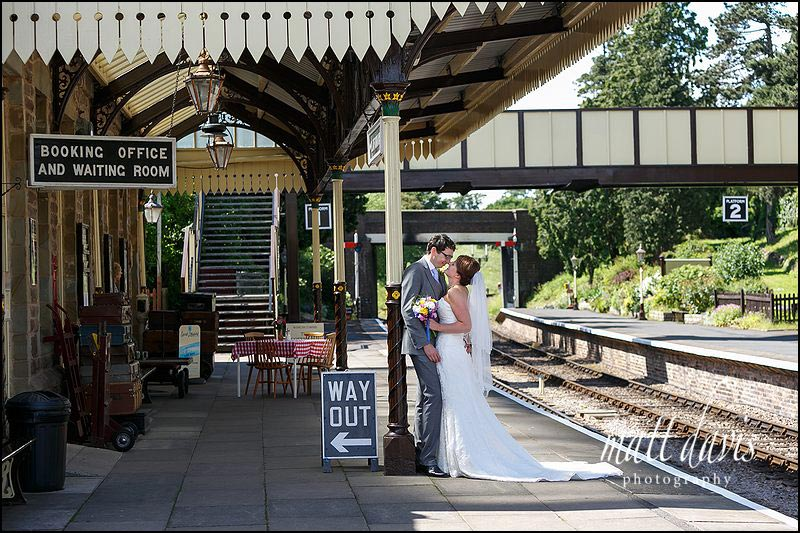 Elegant Wedding Photography Cheltenham taken at Winchcombe train station