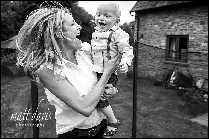 Black and white Family portrait photographer Gloucestershire