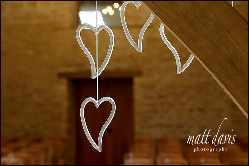 Heart wedding details at Kingscote Barn