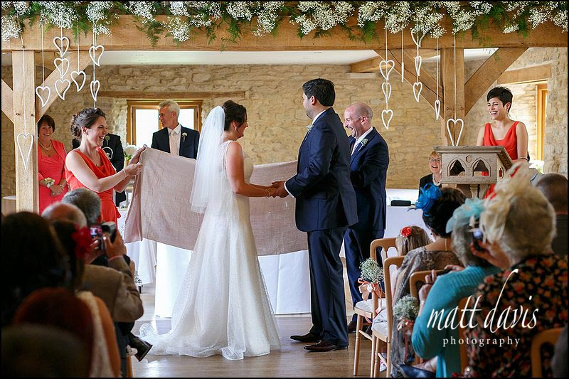 alternative wedding ceremony at Kingscote Barn