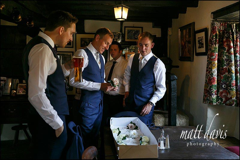 Groom preparations before a Mickleton Hills Farm wedding