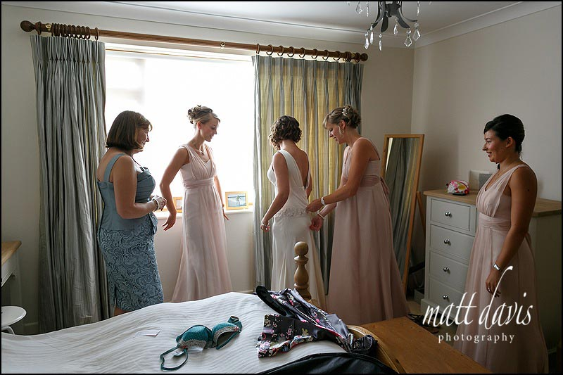 Bridal preparations before a Mickleton Hills Farm wedding