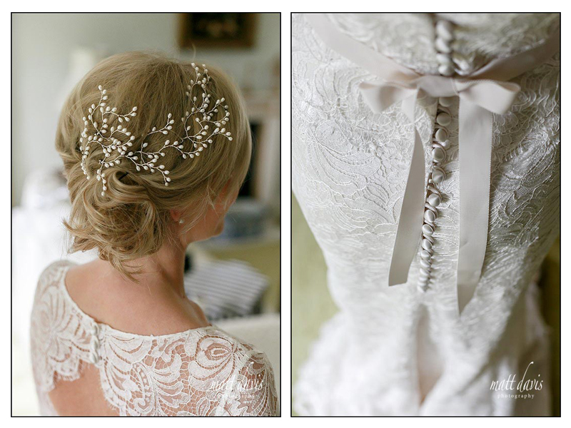 Stunning wedding hair piece and lace wedding dress