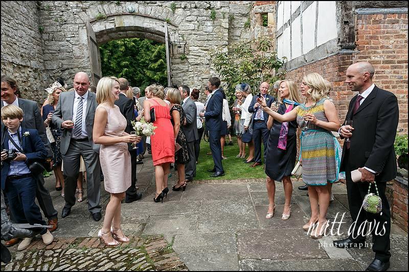 Drinks reception in the Courtyard at Birtsmorton Court