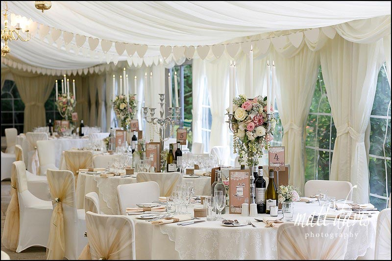 Table decoration inside the marquee at Birtsmorton Court