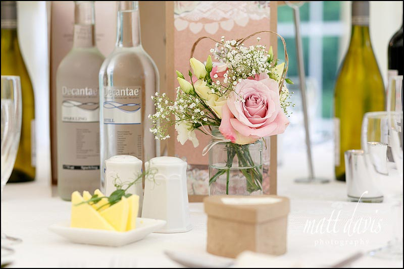 Table flower details inside the marquee at Birtsmorton Court
