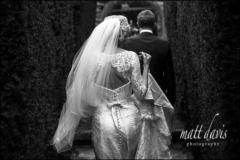 Back of brides wedding dress taken at a Birtsmorton Court wedding by Matt Davis Photography