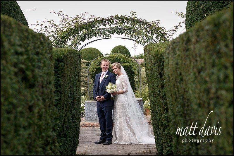 Wedding photos in the White Garden at Birtsmorton Court