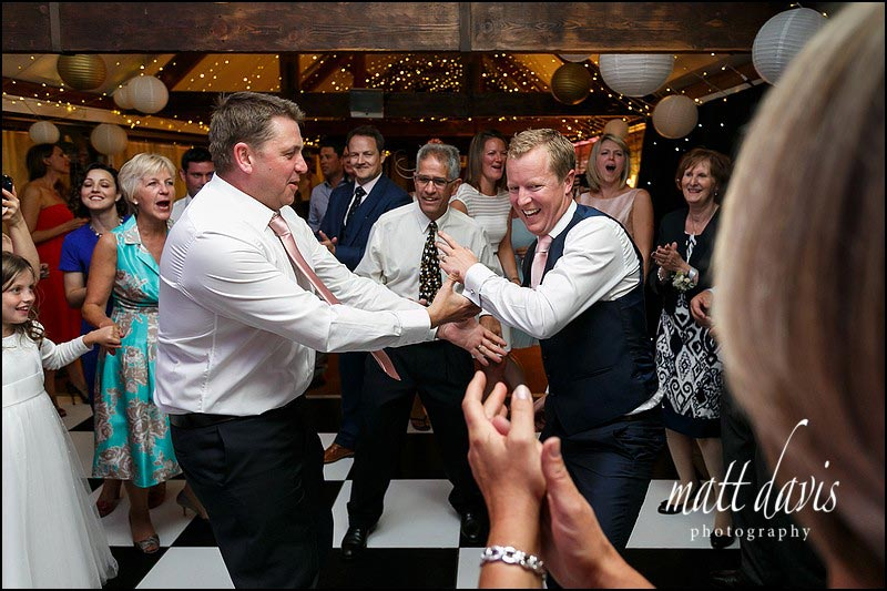 Wedding guests on the dance floor at Birtsmorton Court