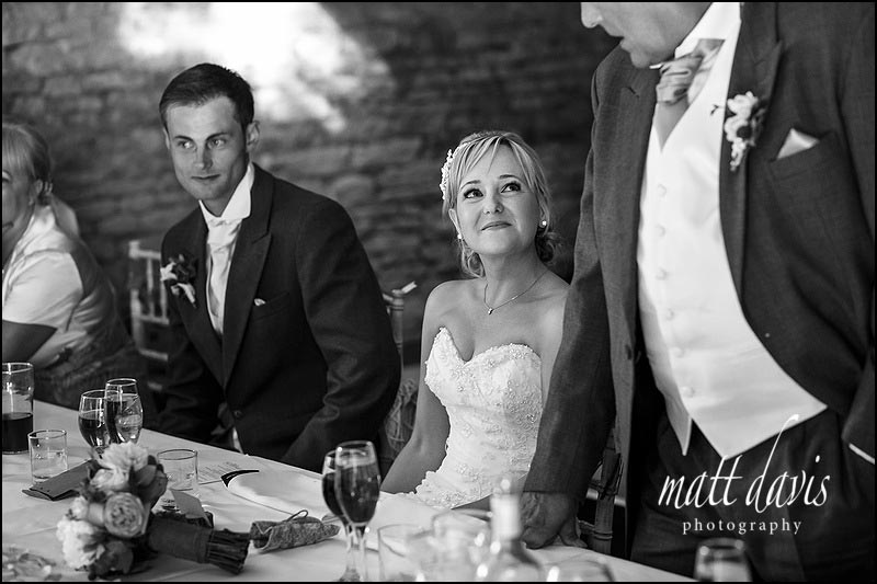Wedding speeches at the Great Tythe Barn in Tetbury, Gloucestershire
