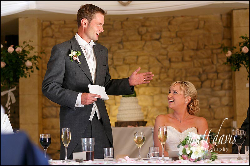 Grooms wedding speech at the Great Tythe Barn in Tetbury, Gloucestershire