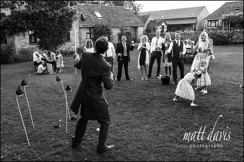 Coconut Shy wedding games at The Great Tythe Barn, Tetbury.