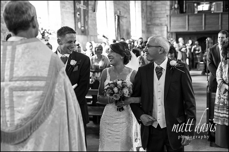 Black and white wedding photography at St Peter's church, Inkberrow, Worcestershire