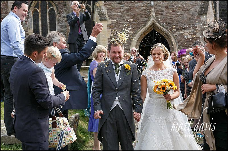 Confetti throwing outside St Mary's church, Berkeley, Gloucestershire